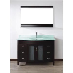 Spa Bathe ELVA Chai Single Sink Vanity with Mint green Glass Top (Common: 48-in x 22-in)