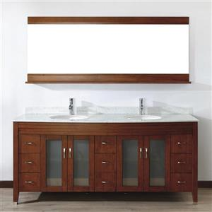 Spa Bathe ELVA Classic cherry Double Sink Vanity with Italian Carerra white/gray Natural Marble Top (Common: 75-in x 22-in)