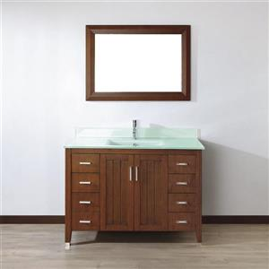 Spa Bathe JAQ Classic cherry Single Sink Vanity with Mint green Glass Top (Common: 48-in x 22-in)