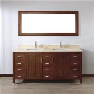 Spa Bathe JAQ Classic cherry Double Sink Vanity with Gala beige Natural Marble Top (Common: 72-in x 22-in)
