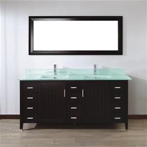 Spa Bathe JAQ Chai Double Sink Vanity with Mint green Glass Top (Common: 72-in x 22-in)