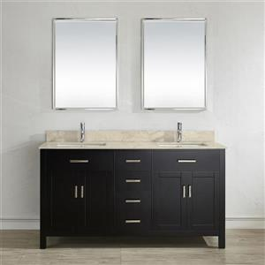 Spa Bathe Kenzie Espresso Double Sink Vanity with Gala beige Natural Marble Top (Common: 63-in x 22-in)