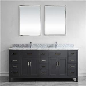 Spa Bathe Kenzie French gray Double Sink Vanity with Italian Carerra white/gray Natural Marble Top (Common: 75-in x 22-in)