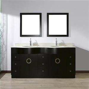 Spa Bathe Zuna Espresso Double Sink Vanity with Nougat Quartz Top (Common: 72-in x 22-in)