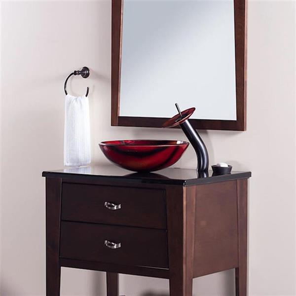 Novatto Autunno Red/Burnt Yellow/Brown Tempered Glass Vessel Round Bathroom Sink