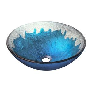 Novatto Diaccio Blue/Silver Tempered Glass Vessel Round Bathroom Sink