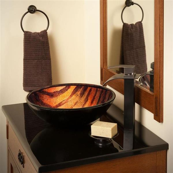 Novatto Mimetica Brown/Green Tempered Glass Vessel Round Bathroom Sink