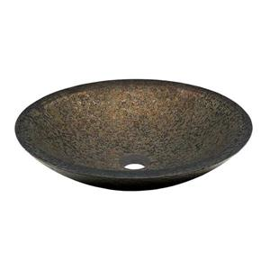 Novatto Laghetto Brown/Gold/Forest Green Tempered Glass Vessel Round Bathroom Sink