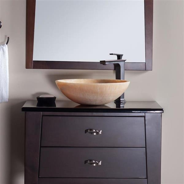 Novatto Honey Stone Vessel Round Bathroom Sink