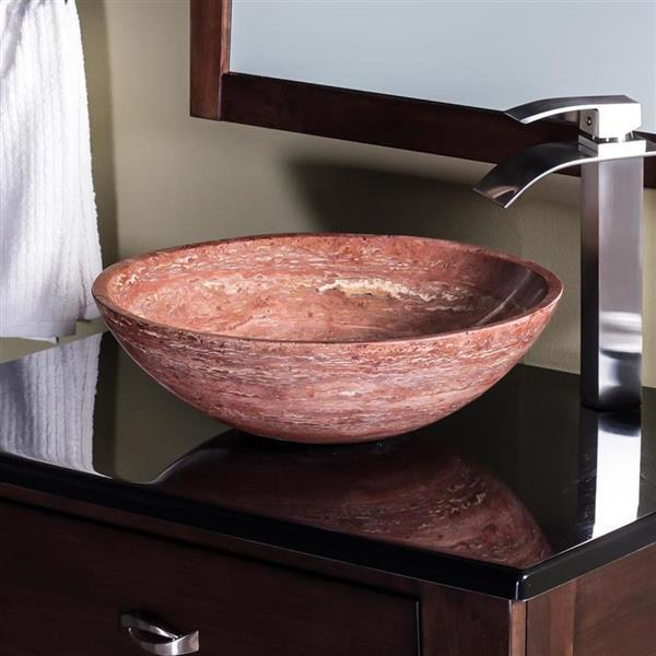Novatto Red Stone Vessel Round Bathroom Sink