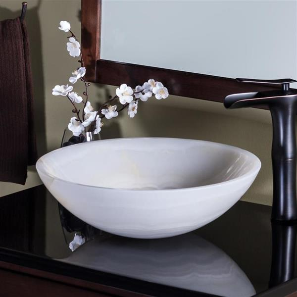 Novatto Cream Stone Vessel Round Bathroom Sink