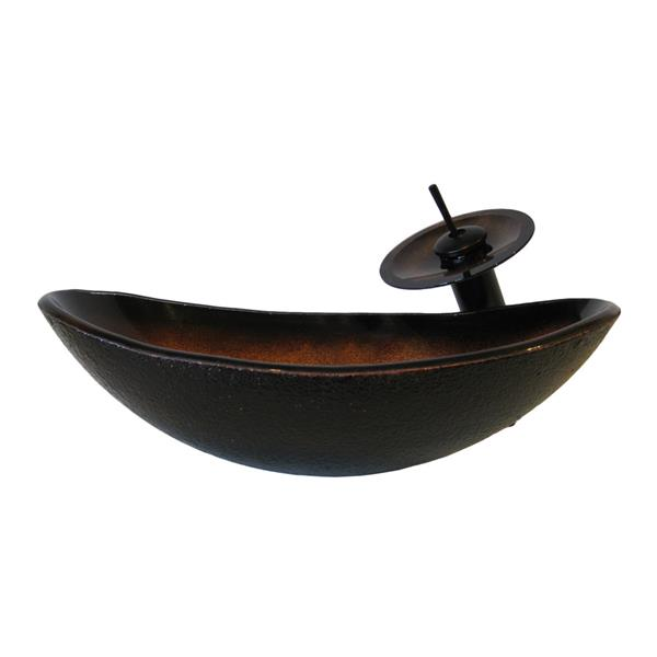 Novatto Black/Tan Tempered Glass Vessel Oval Bathroom Sink with Faucet (Drain Included)