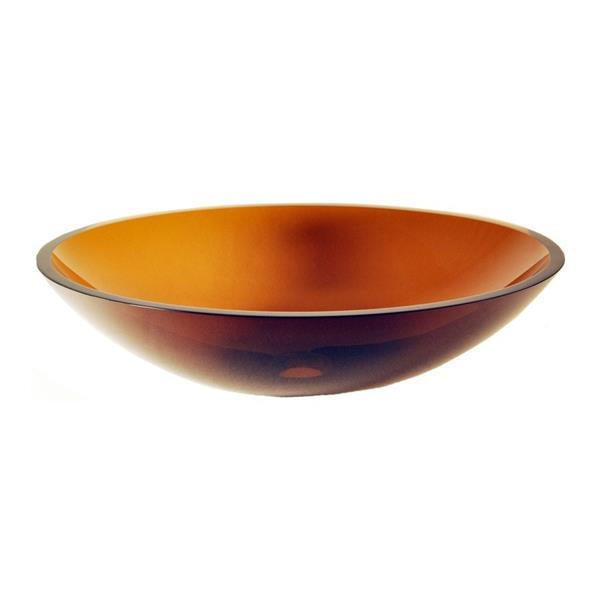 Novatto Abbronzarsi Clear Tea Tempered Glass Vessel Round Bathroom Sink