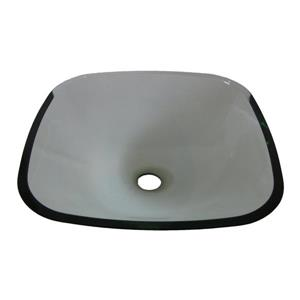 Novatto Piazza Clear Tempered Glass Vessel Square Bathroom Sink