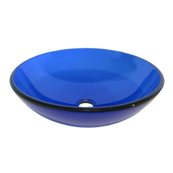 Novatto Blu Clear Blue Tempered Glass Vessel Round Bathroom Sink