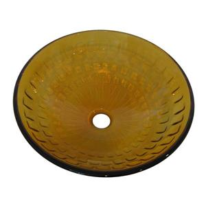 Novatto Favo Clear Burnt Yellow Tempered Glass Vessel Round Bathroom Sink