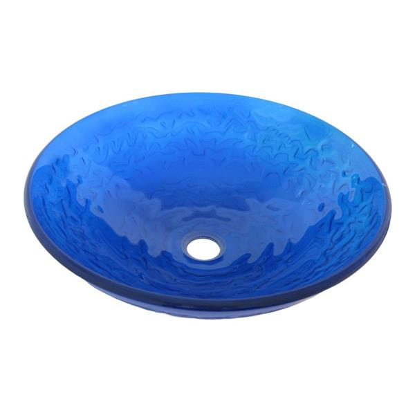 Novatto Mare Blu Clear Blue Tempered Glass Vessel Round Bathroom Sink