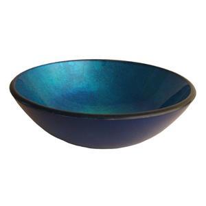 Novatto Verdazzurro Blue Tempered Glass Vessel Round Bathroom Sink