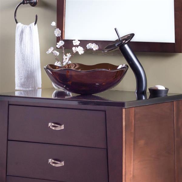 Novatto Flore Light Brown Tempered Glass Vessel Round Bathroom Sink