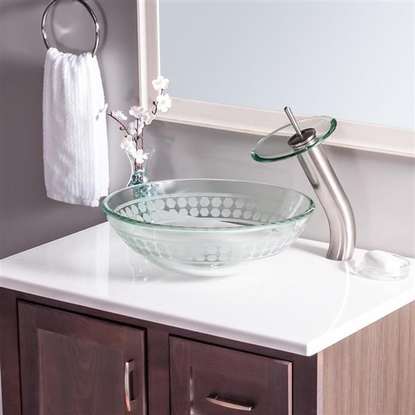 Novatto Imponeren Clear Tempered Glass Vessel Round Bathroom Sink