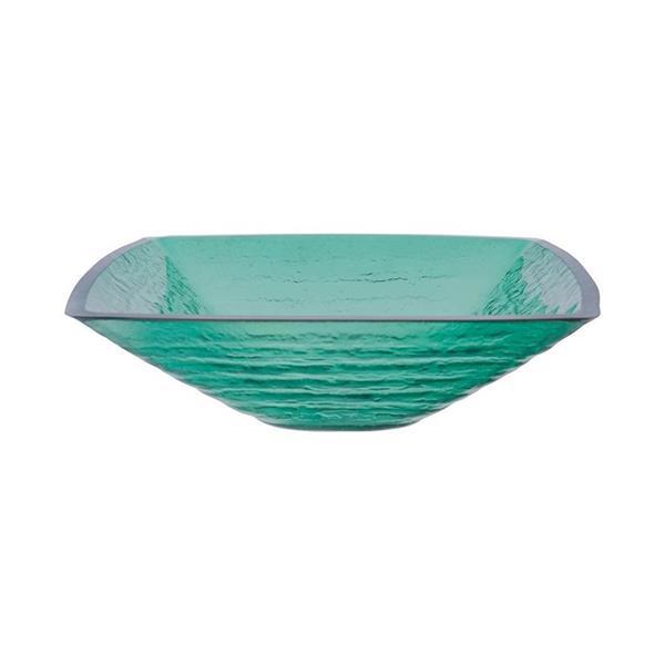 Novatto Sauna Green Tempered Glass Vessel Square Bathroom Sink
