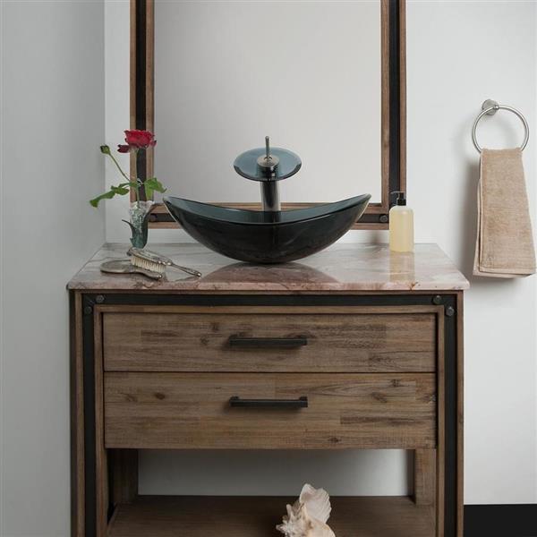 Novatto Bigio Clear Gray Tempered Glass Vessel Oval Bathroom Sink