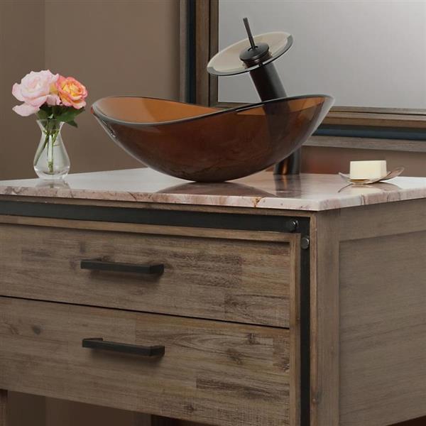 Novatto Babbuccia Clear Tea Tempered Glass Vessel Oval Bathroom Sink