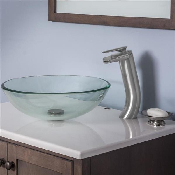 Novatto Brushed Nickel 1-Handle Vessel Bathroom Sink Faucet