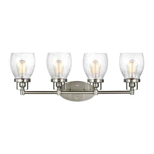 Sea Gull Lighting Belton 4-Light 28.75-in Brushed Nickel Bell Vanity Light