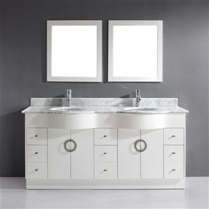 Spa Bathe Zuna White Double Sink Vanity with Carerra Marble Cultured Marble Top (Common: 72-in x 22-in)