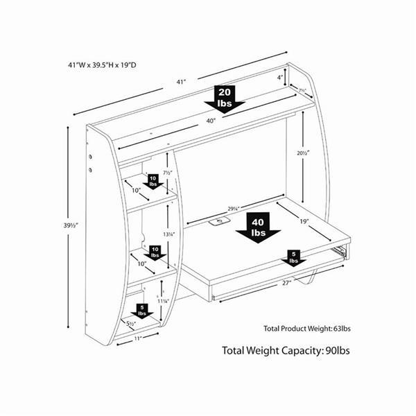Prepac Contemporary Espresso Floating Desk