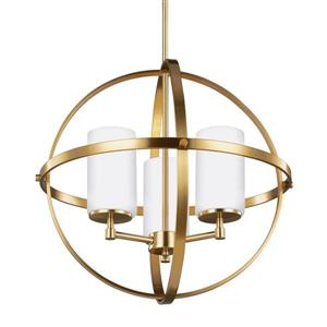 Sea Gull Lighting Alturas 3-Light Satin Bronze Modern/Contemporary Etched Glass Globe Chandelier