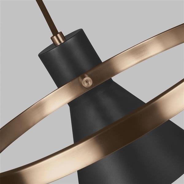 Sea Gull Lighting Towner 3-Light Satin Bronze Industrial Shaded Chandelier