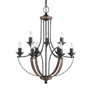 Sea Gull Lighting Corbeille 9-Light Stardust French Country/Cottage Candle Chandelier ENERGY STAR