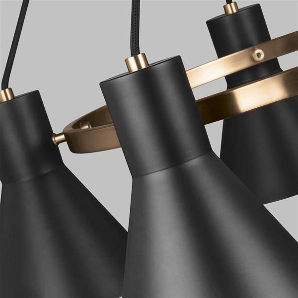 Sea Gull Lighting Towner 5-Light Satin Bronze Modern/Contemporary Shaded Chandelier