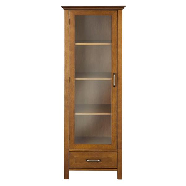half off be6ce 71475 Elegant Home Fashions Avery 17-in W x 48.5-in H x 13.5-in D Oil oak  Composite Freestanding Linen Cabinet