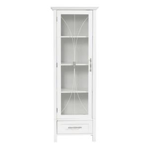 Elegant Home Fashions Delaney 17-in W x 48.5-in H x 13.5-in D White Composite Freestanding Linen Cabinet