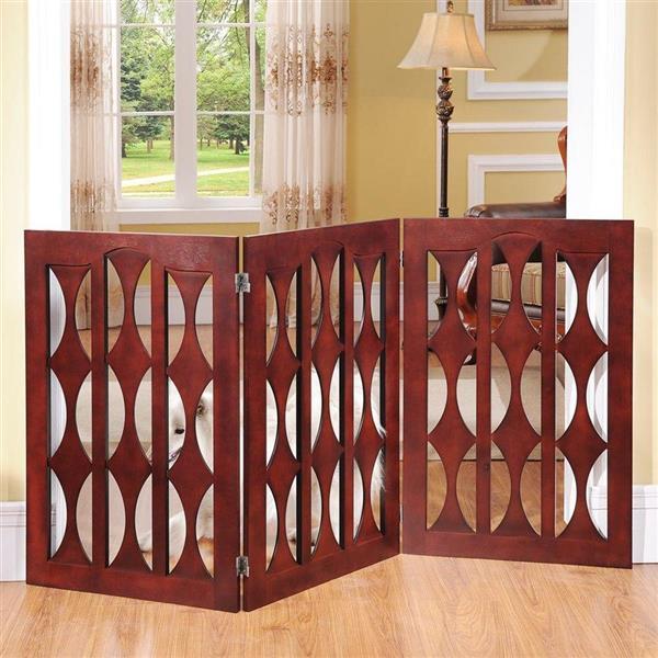 Elegant Home Fashions Freestanding Expandable Brown Wood Pet Gate