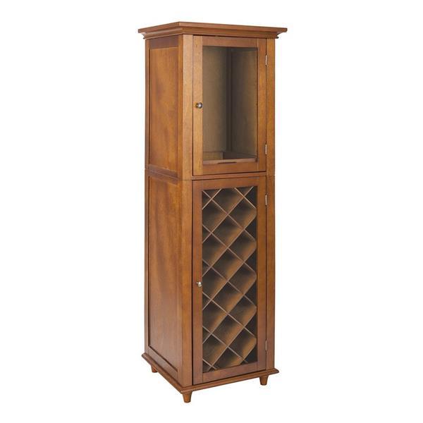 Elegant Home Fashions Napoli IV Walnut 16-Bottle Wine Cabinet