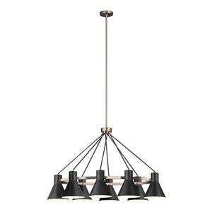 Sea Gull Lighting Holman 9-Light Heirloom Bronze Traditional Etched Glass Tiered Chandelier