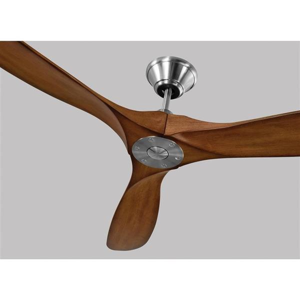 Monte Carlo Fan Company Maverick 70 In Brushed Steel Koa Indoor Outdoor Ceiling Fan And Remote 3 Blade 3mavr70bskoa Rona