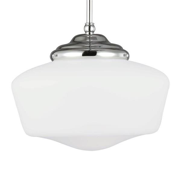 Sea Gull Lighting Academy Chrome Transitional White Glass Cylinder Pendant