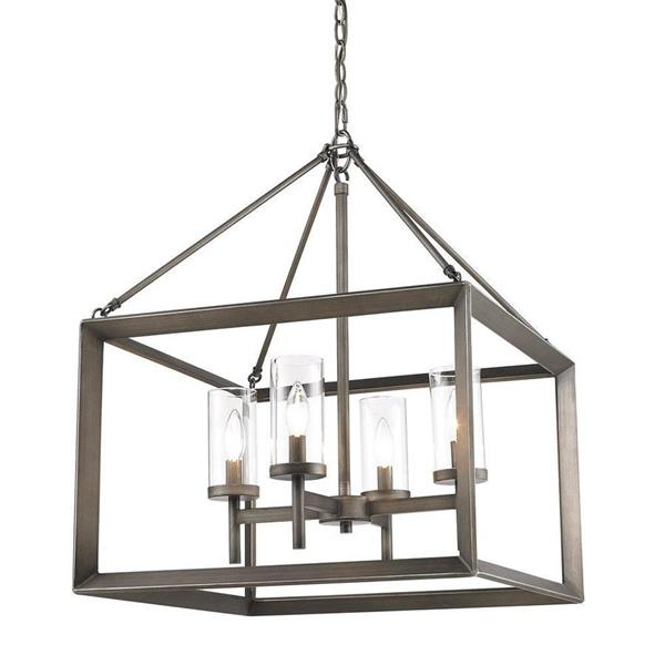 Golden Lighting Smyth 4-Light Gunmetal Bronze Modern/Contemporary Clear Glass Candle Chandelier
