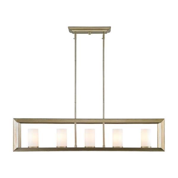 Golden Lighting Smyth WG White Gold Linear Modern/Contemporary Cylinder Pendant