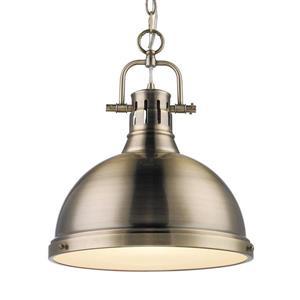 Golden Lighting Duncan AB Aged Brass Transitional Dome Pendant