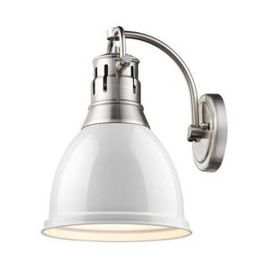 Golden Lighting Duncan PW 8.875-in W 1-Light Pewter Transitional Arm Hardwired Wall Sconce