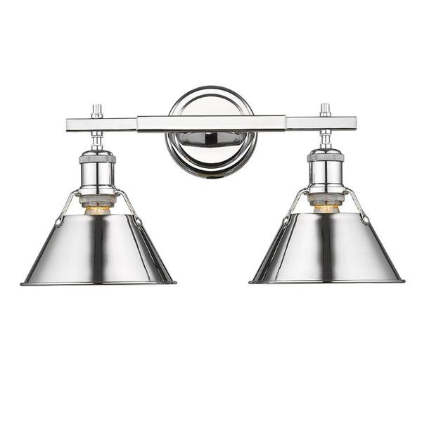 timeless design 6f663 11caa Golden Lighting Orwell CH 2-Light 18.25-in Chrome Cone ...
