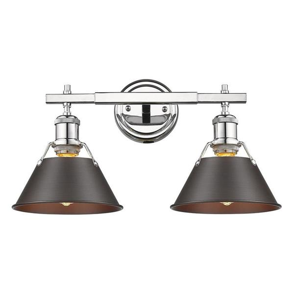 Golden Lighting Orwell CH 2-Light 18.25-in Chrome Cone Vanity Light