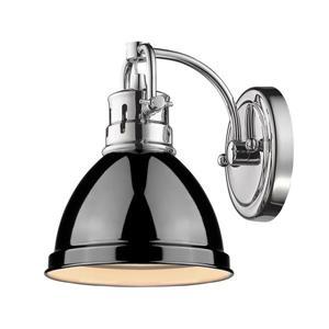 Golden Lighting Duncan 1 Light Bath Vanity in Chrome with a Black Shade