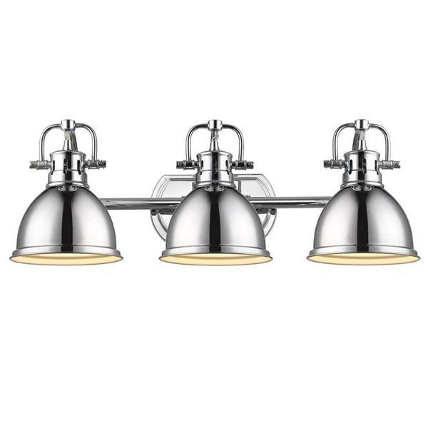 Golden Lighting Duncan CH 3-Light 24.5-in Chrome Dome Vanity Light